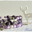 Tél hercegnője háromsoros memória karkötő, Ékszer, Karkötő, Ezüst színű memóriadróton lila (ametiszt, achát) és rózsaszín (rózsakvarc) ásványgyöngy..., Meska