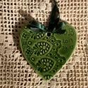 Köszönet ajándék szív zöld mázas
