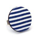 Kék matróz gyűrű, Ékszer, óra, Gyűrű, Kék-fehér matrózcsíkos gyűrű a nyár és a tenger szerelmeseinek.  A gomb átmérője 25 mm, a..., Meska