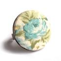 Kék rózsás gyűrű, Ékszer, óra, Gyűrű, Szépséges rózsa mintás gyűrű, romantikus lelkűeknek.  A gomb átmérője 25 mm, a gyűrű sá..., Meska