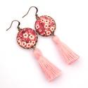 Cseresznyevirágos bojtos fülbevaló - rózsaszín, Ékszer, óra, Fülbevaló, Szépséges cseresznyevirágos textillel készítettem ezt a fülbevalót, színben harmonizáló fo..., Meska