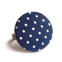 Kék pöttyös gyűrű, Ékszer, óra, Gyűrű, Vidám kék pöttyös gyűrű, ami garantáltan mosolyt csal az arcodra. :)  A gomb átmérője 25 m..., Meska