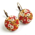 Cseresznyevirágos kapcsos fülbevaló - sárga, Az egyik kedvenc virágmintás Liberty of London t...