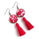 Cseresznyevirágos bojtos fülbevaló - piros, Ékszer, óra, Fülbevaló, Szépséges cseresznyevirágos textillel készítettem ezt a fülbevalót, színben harmonizáló fo..., Meska