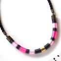 Fekete-rózsaszín WOOL nyaklánc, Ékszer, Nyaklánc, A WOOL kollekció darabjai igazán kifinomultak és nőiesek, ami a formán kívül a felhasznált szaténfén..., Meska
