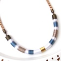 Barna-fehér-kék WOOL nyaklánc, Ékszer, Nyaklánc, A WOOL kollekció darabjai igazán kifinomultak és nőiesek, ami a formán kívül a felhasznált szaténfén..., Meska