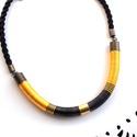 Fekete-sárga WOOL nyaklánc, Ékszer, Nyaklánc, A WOOL kollekció darabjai igazán kifinomultak és nőiesek, ami a formán kívül a felhasznált szaténfén..., Meska
