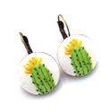 Kaktuszos, sárga virágos kapcsos fülbevaló , Ékszer, Fülbevaló, Kaktuszkák a füledbe! :)  A gombok átmérője 20 mm, sárgaréz színű, nikkelmentes francia kapcsos fülb..., Meska