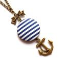 Romantikus matróz nyaklánc - Kék , Ékszer, Nyaklánc, A nyár szerelmeseinek egy matrózcsíkos, tenger-illatú nyaklánc! :)  A gomb átmérője 2,5 cm. ..., Meska
