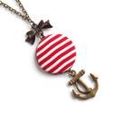 Romantikus matróz nyaklánc - Piros, Ékszer, Nyaklánc, A nyár szerelmeseinek egy matrózcsíkos, tenger-illatú nyaklánc! :)  A gomb átmérője 2,5 cm. ..., Meska