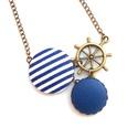 Hajókormányos matróz nyaklánc - kék, Ékszer, Nyaklánc, A nyár szerelmeseinek egy matrózcsíkos, tenger-illatú nyaklánc! :)  A gombok átmérője 25 és..., Meska