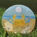 Rák horoszkóp mandala, Művészet, Festmény, Festmény vegyes technika, Selyemfestés, Rák horoszkóp mandala. Átmérő: 25cm 2db van raktáron., Meska