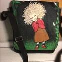 Tündéres táska, egyedi kézzel festett, Táska, Válltáska, oldaltáska, Festett tárgyak, Varrás, Egyedi, kézzel festett táska kis-nagy gyerekeknek. A táskátt is én készítem, anyaga pamutvászon, bé..., Meska