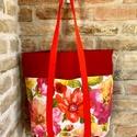 Piros/Kék mintás zsebes, nagy táska, bevárlós, pakolós, Piros mintás, nagy bevásárlós válltáska, tot...