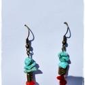 Blue and Red - Fülbevaló, Ékszer, óra, Esküvő, Mindenmás, Fülbevaló, Ékszerkészítés, Igazi nőies fülbevaló.   Festett howlit splitter gyógyító ásvány, korall gyógyító ásvány, köztes, f..., Meska