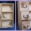 Fiókos polcos kisszekrény , Konyhafelszerelés, Otthon, lakberendezés, Pirográffal díszített natúr fa kis szekrény.   Mérete: 30 x 25 x 8 cm  (A natúr fa termékeke..., Meska