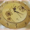 Falióra 7, Ékszer, óra, Dekoráció, 25 cm átmérőjű falióra  pirográffal dekorálva, Meska