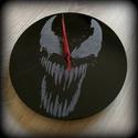 Venom falióra rajongóknak, Otthon, lakberendezés, Férfiaknak, Falióra, óra, Legénylakás, Kézzel gravírozott üveg falióra.  A hátlapja akrilfestékkel lett befestve, így az változtath..., Meska