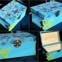 Lepkés doboz, Otthon, lakberendezés, Tárolóeszköz, Doboz, Igazi kis csajos doboz, élénk színekkel, pillangókkal.. Festettem, dekupázsoltam, elejére egy ..., Meska