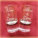 Felespohár esküvőre, Esküvő, Meghívó, ültetőkártya, köszönőajándék, Nászajándék, Rendelésre készülő poharak, Meska