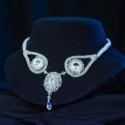 Esküvői nyakék, Esküvő, Esküvői ékszer, Swarovski rivoli befoglalásával készült nyakék gyöngyből fűzött pánttal., Meska