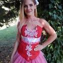 Fehér csipkés piros menyecskeruha, Ruha, divat, cipő, Esküvői ruha, Női ruha, Estélyi ruha, Varrás, Ez a piros taftból készült egyedi menyecskeruha kiválóan ötvözi a tradíciót és a modern szabásvonal..., Meska