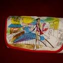 Irat és pénztárca piros-fehér divat mintás, Táska, Pénztárca, tok, tárca, Pénztárca, Varrás, Kordbársony és bohém mintás textil kombinációja. 8 kártyarendezőt, két elválasztót, melyből egyik c..., Meska