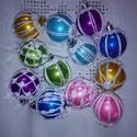 Karácsonyi gömb, Dekoráció, Karácsonyi, adventi apróságok, Ünnepi dekoráció, Karácsonyfadísz, Horgolás, 12 db 5 cm átmérőjű színes (2 db sárga, 2 db rózsaszín, 2 db lila, 2 db zöld, 2 db kék 2 db türkiz)..., Meska