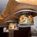 3 részes vintage lámpa, Ez a natúr fa alapra készített, 3 részes teás...