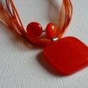 Narancs nyaklánc, fülivel, Minőségi amerikai üvegből (bullseye) készíte...