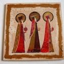 Három KIRÁLYOK (2), Dekoráció, Ünnepi dekoráció, Karácsonyi, adventi apróságok, Karácsonyi dekoráció, 12x12 cm-es fatáblára készítettem, transzferáltam a három királyokat.  Selyemszalag akasztót..., Meska