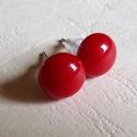 Pötty fülbevaló piros, Ékszer, Fülbevaló, Minőségi amerikai üvegből (bullseye) készítettem ezt az egyszerű, szolíd pöttyfülbevalót, fusing tec..., Meska