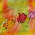 Tulipánok selyemsál, Ruha, divat, cipő, Kendő, sál, sapka, kesztyű, Kendő, Elvarázsol, magával ragad, télen melegít, nyáron hűsít. Pongé5 hernyóselyemből készítettem ezt a cso..., Meska