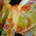 Napfényes ,tulipános selyemsál, Ruha, divat, cipő, Kendő, sál, sapka, kesztyű, Sál, Elvarázsol, magával ragad, télen melegít, nyáron hűsít. Muszlin vagy más néven chiffon hernyóselyemb..., Meska
