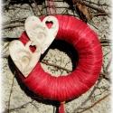 Szeretettel - Akció!, Dekoráció, Esküvő, Otthon, lakberendezés, A szeretettel sorozat következő része. :) 15 cm-es átmérőjű szizál alapra készült. Bordóspiros raffi..., Meska