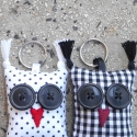 Fekete-fehér uhuk párban - 2db bagoly kulcstartó egy csomagban, Mindenmás, Kulcstartó, Két darab Uhu kulcstartó egy csomagban, az egyik fekete-fehér pöttyös, a másik kockás. Pároknak, sze..., Meska