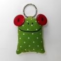 Piros szemű levelibéka kulcstartó, Mindenmás, Kulcstartó, Uhu egyik barátja a piros szemű Breki, őt ábrázolja ez a zöld pöttyös, pillekönnyű kulcstartó.   A b..., Meska