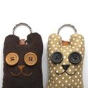 Szerelmes medvék - 2db mackó kulcstartó egy csomagban, Mindenmás, Férfiaknak, Kulcstartó, Két darab maci kulcstartó egy csomagban, színben harmonizálnak egymással, az egyik pöttyös, a másik ..., Meska