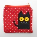 Piros pöttyös fekete macskás neszesszer, Táska, Neszesszer, Te sem találsz soha semmit a táskádban? Az apróbb tárgyakat garantáltan biztos helyen tudhatod ebben..., Meska