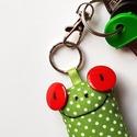Piros szemű levelibéka kulcstartó, Mindenmás, Kulcstartó, Uhu egyik barátja a piros szemű Breki, őt ábrázolja ez a zöld pöttyös, pillekönnyű kulcsta..., Meska