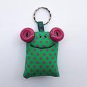 Zöld-lila pöttyös béka kulcstartó, Mindenmás, Kulcstartó, Varrás, Bármely táskából villámgyorsan előkerül a kulcs, ha ez a pöttyös breki vigyáz rá!  A béka mérete kb..., Meska