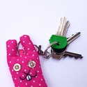 Pink pöttyös nyuszi kulcstartó - nemcsak húsvétra!, Mindenmás, Kulcstartó, Uhu újabban nyulakkal is barátkozik! (Említettem már, hogy ahol ők laknak, a legtöbb állat vegetáriá..., Meska