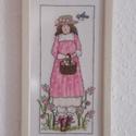 Rózsaszínben-kosaras nőalak keresztszemes hímzéssel képkeretben, Dekoráció, Otthon, lakberendezés, Falikép,  Szeretem ezeket a kedves,bájos nőalakokat-nekem is van a konyhám bejáratánál.Valahányszor el..., Meska