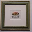 Primulák-keresztszemes hímzés képkeretben, Dekoráció, Otthon, lakberendezés, Falikép,  Szeretem ezeknek a kedves,meghitt hímzéseknek a hangulatát.Emlékeket hordoznak magukban:nagyany..., Meska