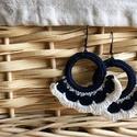Horgolt fülbevaló, Ékszer, Fülbevaló, Görögös hangulatot idéz ez a kék-fehér színekből álló horgolt fülbevaló. Egyedi és kén..., Meska