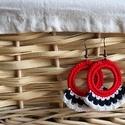 Horgolt fülbevaló, Ékszer, Fülbevaló, Görögös hangulat és egyediség. Ezek jellemzik ezt a piros-fehér-kék színekből álló horgol..., Meska