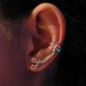 Fülgyűrű, Ékszer, Fülbevaló, Ezt a fülgyűrűt  ezüstözött ékszerdrótból készítem, türkizkék üveggyönggyel kombinálva Ez a különleg..., Meska