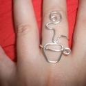 Kávé gyűrű, Ékszer, 1,2 mm-es ezüstözött niekkelmentes huzalból hajlított gyűrű., Meska