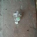 Violinkulcs fülgyűrű, Ékszer, óra, Fülbevaló,  Ezüstözött drótból kézzel hajlított lila fülgyűrű., Meska