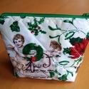 Angyalkás, Táska, Neszesszer, Karácsonyi textilből készült neszeszer. Méret 22x13x6 cm, Meska